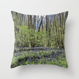 Everdon Stubbs Wood Bluebells Throw Pillow