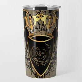 Dragon in gold and black Travel Mug