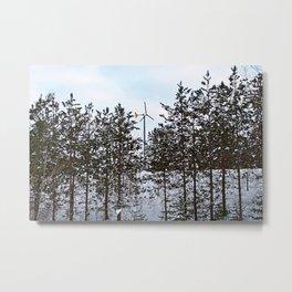 Windmill Through the Trees Metal Print