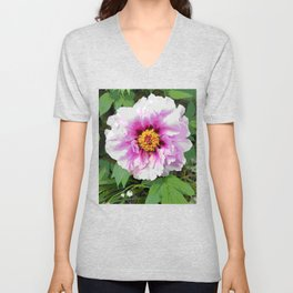 Rose and mauve peony with a heart of gold Unisex V-Neck