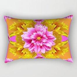 FUCHSIA PINK DAHLIAS & YELLOW SUNFLOWERS GARDEN ART Rectangular Pillow