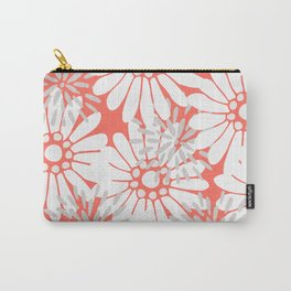 Summer Flowers Living Coral Carry-All Pouch
