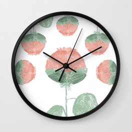 Puffy Flowers on Repeat Wall Clock
