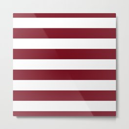 Deep Red Pear and White Wide Horizontal Cabana Tent Stripe Metal Print