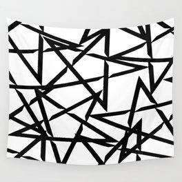 Interlocking Black Star Polygon Shape Design Wall Tapestry