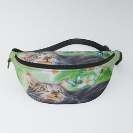 Cat Playful Portrait and Butterfly Fanny Pack