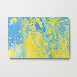 Fluid Art Acrylic Painting, Pour 36, Yellow, Green & Blue Blended Color Metal Print