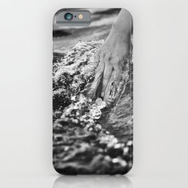 Running hand through the water, under the blue again black and white photograph / art photography iPhone Case