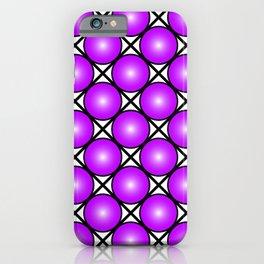 Neon Magenta Pink Dots Black White Pattern iPhone Case