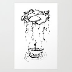 Abstract Whimsical illustration, Rain, cloud, umbrella, Black and white, pen and ink Art Print