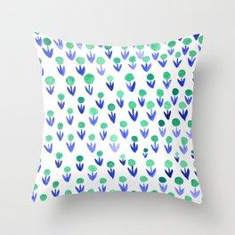 Dot flowers -  green and blue Throw Pillow