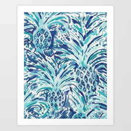 PINEAPPLE WAVE Blue Painterly Watercolor Art Print