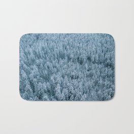 Winter pine forest aerial - Landscape Photography Bath Mat