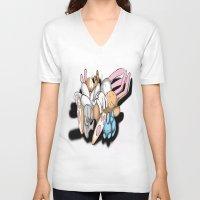 rabbits V-neck T-shirts featuring Rabbits by kyleray3000