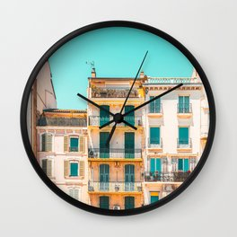 Cannes City Architecture, French Riviera Summer Travel, Pastel Colors, Colorful Buildings Facade, Orange And Teal Wall Clock
