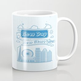 New day New Start Daily Inspirational Motivational Quote Coffee Mug