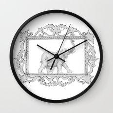 grey frame with elephant Wall Clock