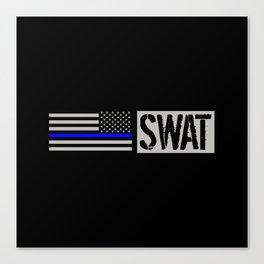 SWAT: The Thin Blue Line Flag Canvas Print