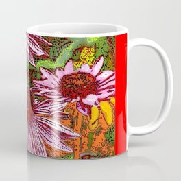COLORFUL ECHINACEA IN INK RED FLORAL GARDEN Coffee Mug