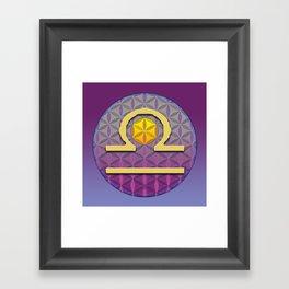 Flower of Life LIBRA Astrology Design Framed Art Print