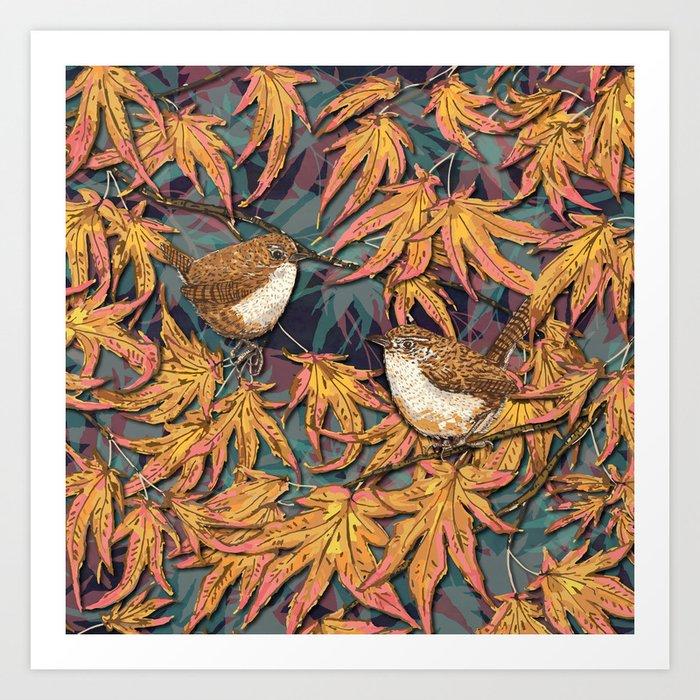 Garden Wrens Art Print