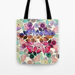 Pink and indigo flower pattern Tote Bag