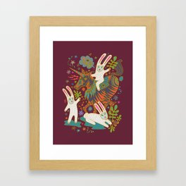 Three Rabbits and a Unicorn Framed Art Print