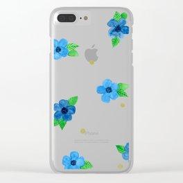 Blue Flower Pattern Clear iPhone Case