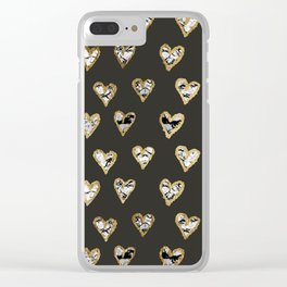 Modern Chic Black White Marble Gold Hearts Clear iPhone Case