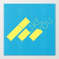 I Like You Graphik: Yellow Type Canvas Print