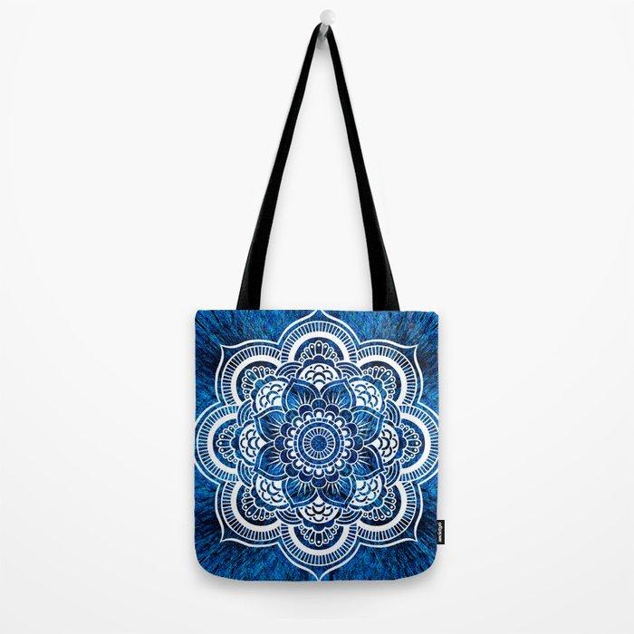 Mandala Cerulean Blue Colorburst Tote Bag
