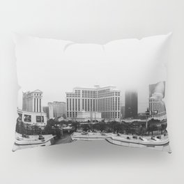 Back Side of the Bellagio // Las Vegas Strip City Landscape Cloudy Snow Day Foggy Raw Photograph Pillow Sham