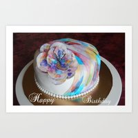 Birthday Cake Watercolor Art Print