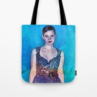 emma watson Tote Bags featuring Emma Watson - Blue by André Joseph Martin