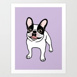 Happy Double Hooded Pied Frenchie Art Print