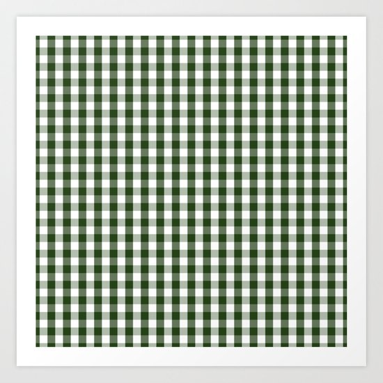 Dark Forest Green and White Gingham Check by podartist