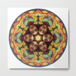 Metta Mandala White Metal Print