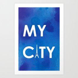 MyCity-Paris-BlueA Art Print