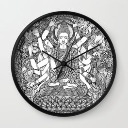 Enchanted Coloring Buddha-Hand-drawn-Kent Chua Wall Clock