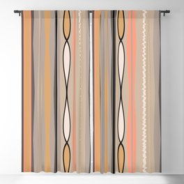Peachy Taupe Line Pattern Blackout Curtain