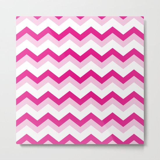 Pink & White Chevron Pattern - Zig Zag for your summer Metal Print