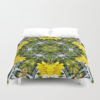 marc johns Duvet Covers featuring Kaleidoscope of showy St Johns Wort  by Wendy Townrow