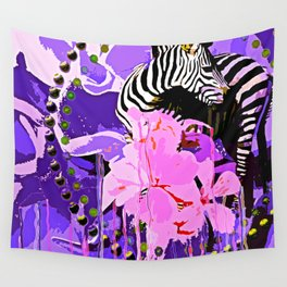 Zebras and Flowers Wall Tapestry