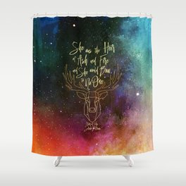 She was the heir of ash and fire and she would bow to no one. Aelin Shower Curtain