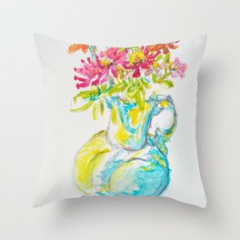 Zinnia Bright Bouquet Water Pitcher watercolor by CheyAnne Sexton Throw Pillow
