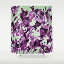 Painterly Graceful Flowing Flowers Shower Curtain