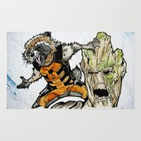 rocket raccoon Area & Throw Rugs featuring Rocket Raccoon and Groot by artbyteesa