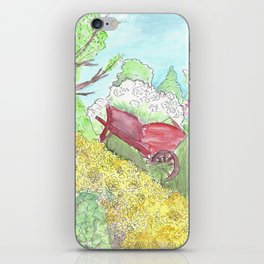 Watercolor painting, Red wheelbarrow, flowers, spring, country, farmhouse iPhone Skin