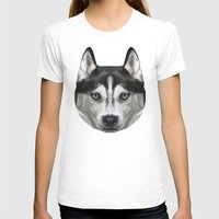 husky T-shirts featuring Husky // Blue by peachandguava
