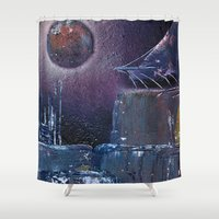 saga Shower Curtains featuring space saga (Small Space 19) by TwinEnigmaDesign